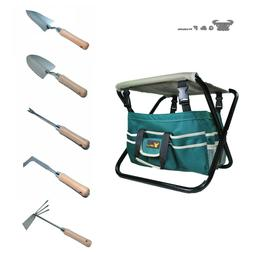 G & F 10049 7-Piece All-In-One Garden Tool Set, Folding Stoo