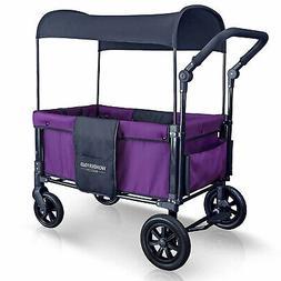 WONDERFOLD 2 Passenger Push Folding Stroller Wagon with Cano