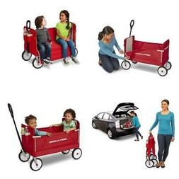 3-in-1 Wagon EZ Fold Padded Seat w/Seat Belts Red 150 lb Cap