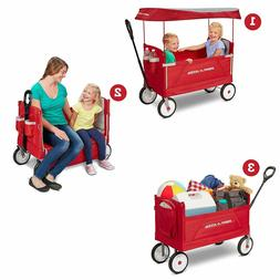 Radio Flyer 3951 3 in 1 EZ Fold Wagon with Canopy- Red