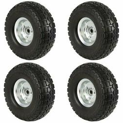 "4-Pack 10"" Solid Rubber Tyre Wheels Garden Wagon Cart Trolle"