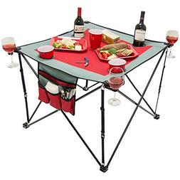 Creative Outdoor Distributor 820117-Red/Grey Folding Wine Ta