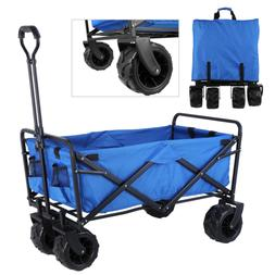 All Terrain Wide Tire Collapsible Folding Wagon Beach Pull P