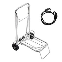 Lucky Tree Aluminum Folding Luggage Cart with Bungee Rolling