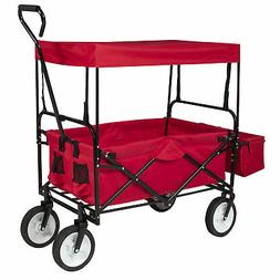 BCP Folding Utility Wagon Cart w/ 2 Cup Holders, Removable C