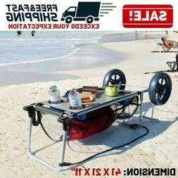 Beach Sand Cart Folding Table Big Wheel Towel Storage Cup Ho