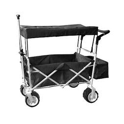 BLACK OUTDOOR FOLDING STROLLER WAGON CANOPY GARDEN TRAVEL CA