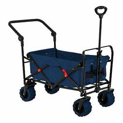 Blue Wide Wheel Wagon All Terrain Folding Collapsible Utilit