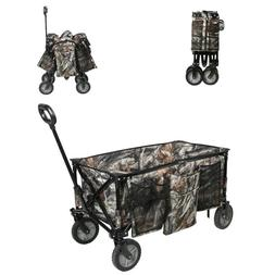 Ozark Trail Camo Print Quad-Folding Wagon with Telescoping H
