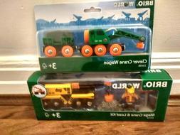 BRIO Clever Crane Wagon,  Mega Crane & Load Kit 33698  33734