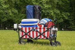 Mac Sports Collapsible Folding Outdoor Utility Wagon w/ Side