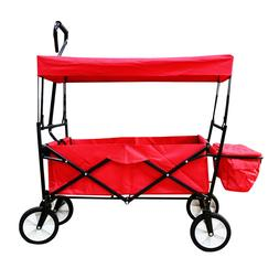 Collapsible Folding Utility Wagon Cart with Canopy – Red