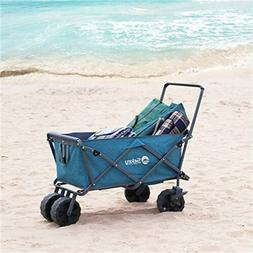 Folding Beach Wagon with Brakes Collapsible Heavy Duty Utili