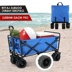 Folding Collapsible Utility Wagon Hand Push Cart w/All-Terra