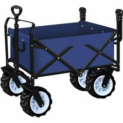 Collapsible Utility Wagon Cart Folding Push Wide Wheel Wagon