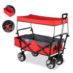 Folding Wagon Canopy Collapsible Outdoor Camping Utility wit