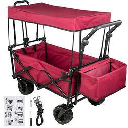 Folding Wagon Cart Collapsible Folding Garden Cart Beach Uti