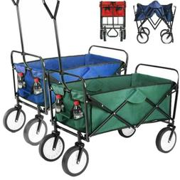 Folding Wagon Collapsible Garden Beach Utility Cart Handle B