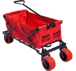 Folding Wagon Utility Cart Collapsible Beach Wagon Garden Bu