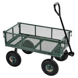 Garden Utility Wagon Steel Fold Down Sides Air Tires Heavy D