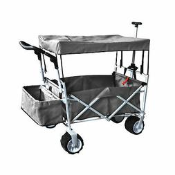 GRAY OUTDOOR FOLDING STROLLER WAGON CANOPY GARDEN TRAVEL CAR