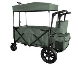 GREY OUTDOOR FOLDING PUSH WAGON CANOPY GARDEN UTILITY TRAVEL