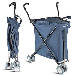 Freshore Grocery Shopping Cart with Wheels - Collapsible Pus