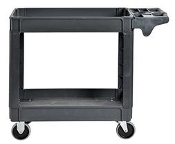 Heavy Duty Plastic Utility Cart, 2 Shelves