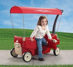 Kids Children Red Wagon With Canopy Toy Kids Car 2 Seats Tab