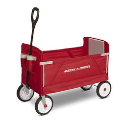 Kids Folding Wagon Ride On For 2 Children W/ Padded Seat Out