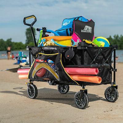 Gorilla Carts 7 Feet Foldable Wagon Black