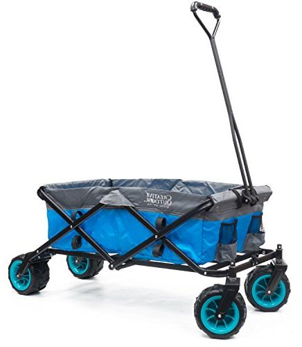 all terrain folding wagon blue grey
