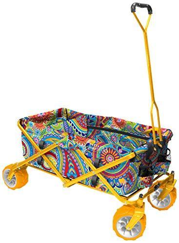 all terrain folding wagon paisley yellow divider