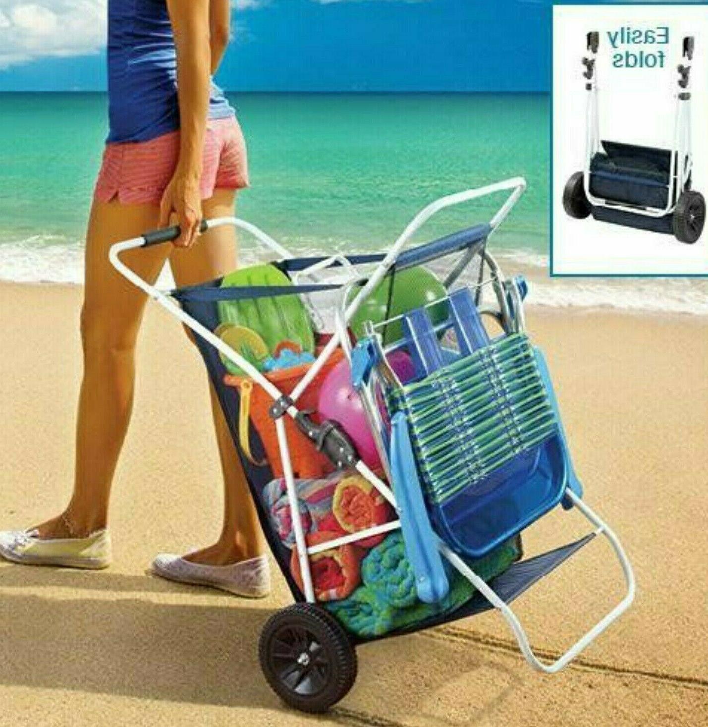 Beach Wagon Cart Folding Outdoor Wagon Wide