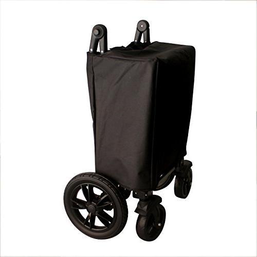 BLACK PUSH HANDLE BRAKE FOLDING COLLAPSIBLE BABY TROLLEY W/ CANOPY SPORT UTILITY SHOPPING CARTFREE SETUP NO TOOL