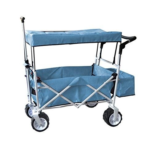 BLUE FREE ICE PUSH HANDLE FOLDING BABY OUTDOOR SPORT COLLAPSIBLE KIDS UTILITY SHOPPING CART NO NECESSARY