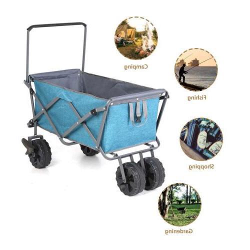 Collapsible Cart Wagon Shopping Cart Outdoor Garden Blue