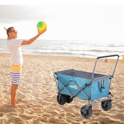Collapsible Beach Cart Wagon Shopping Outdoor Blue