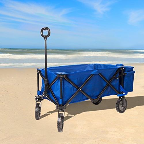 Timber Beach Wagon Camping Utility Cart with Bag for up Blue,Heavy Duty