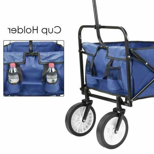 Collapsible Wagon Beach Camping Cart Blue