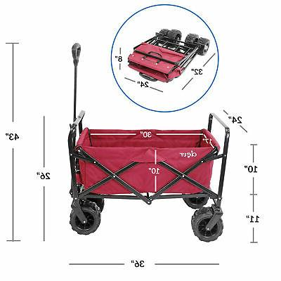 Collapsible Foldable Utility Wagon Cart Terrain Wheels, Red
