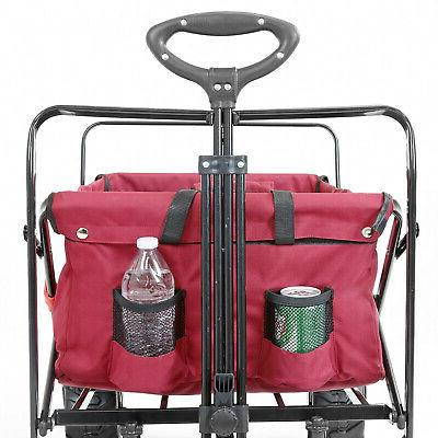 Collapsible Foldable Outdoor Wagon with Terrain Red