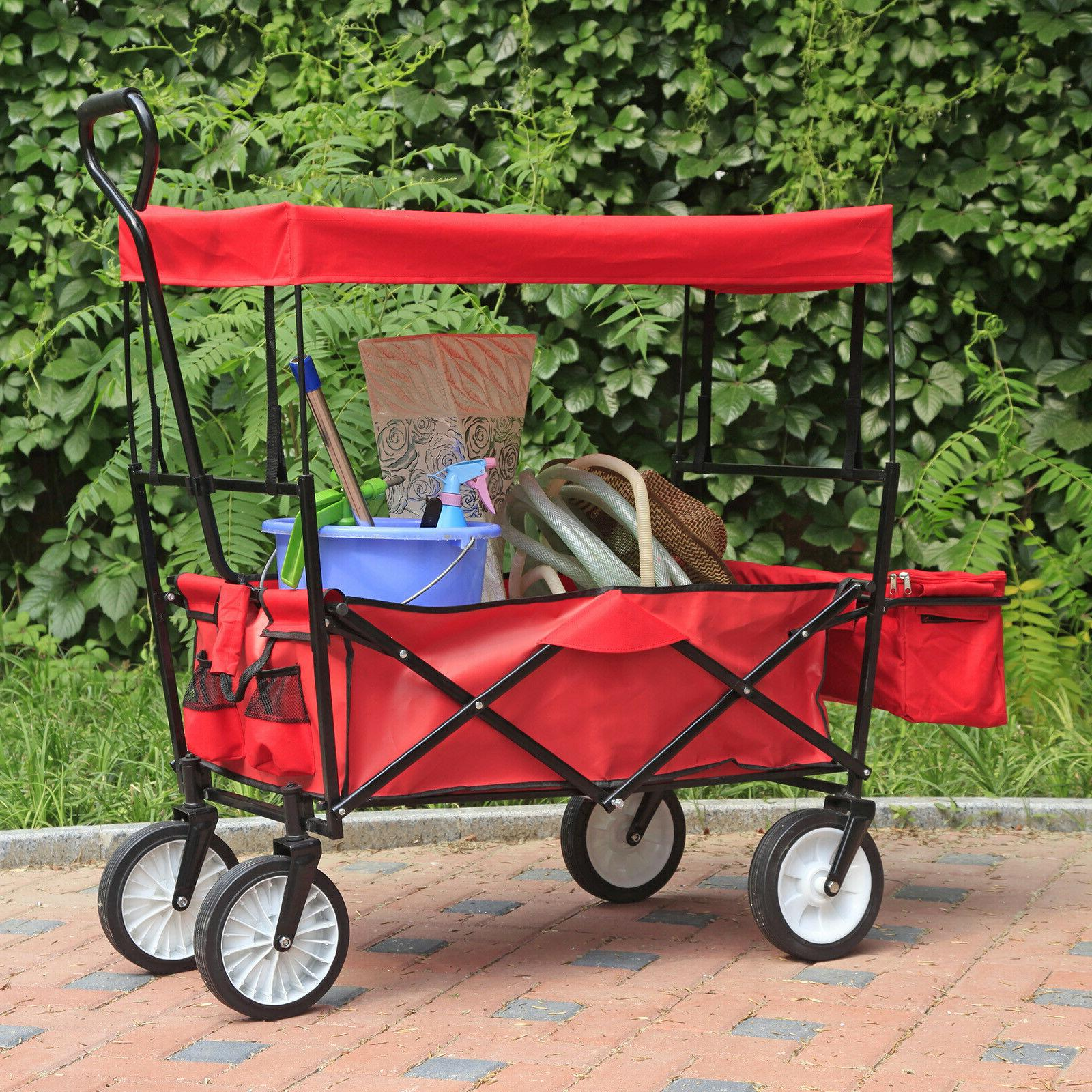 Collapsible Folding Garden Camping Utility with Canopy Red
