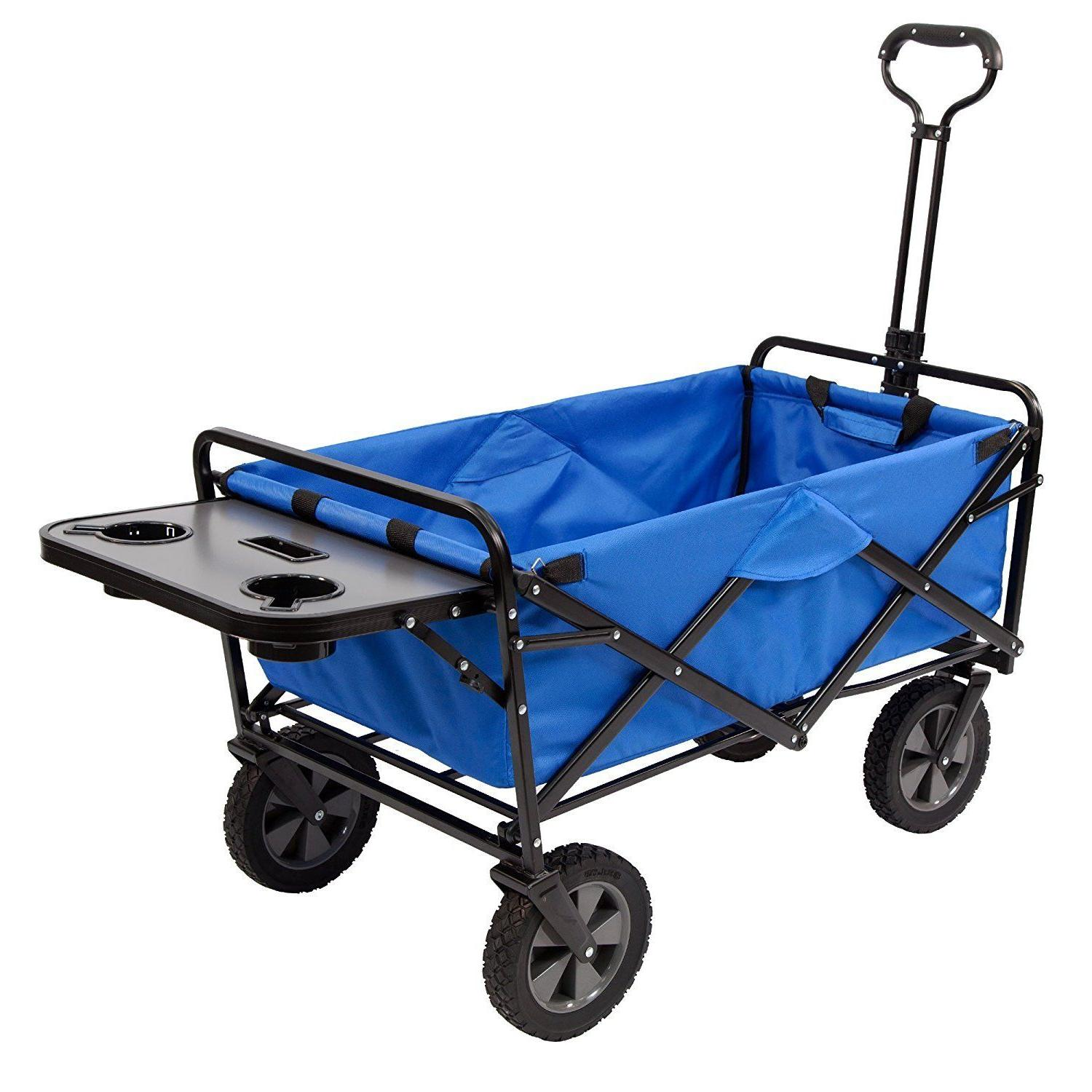 collapsible folding outdoor utility wagon with side
