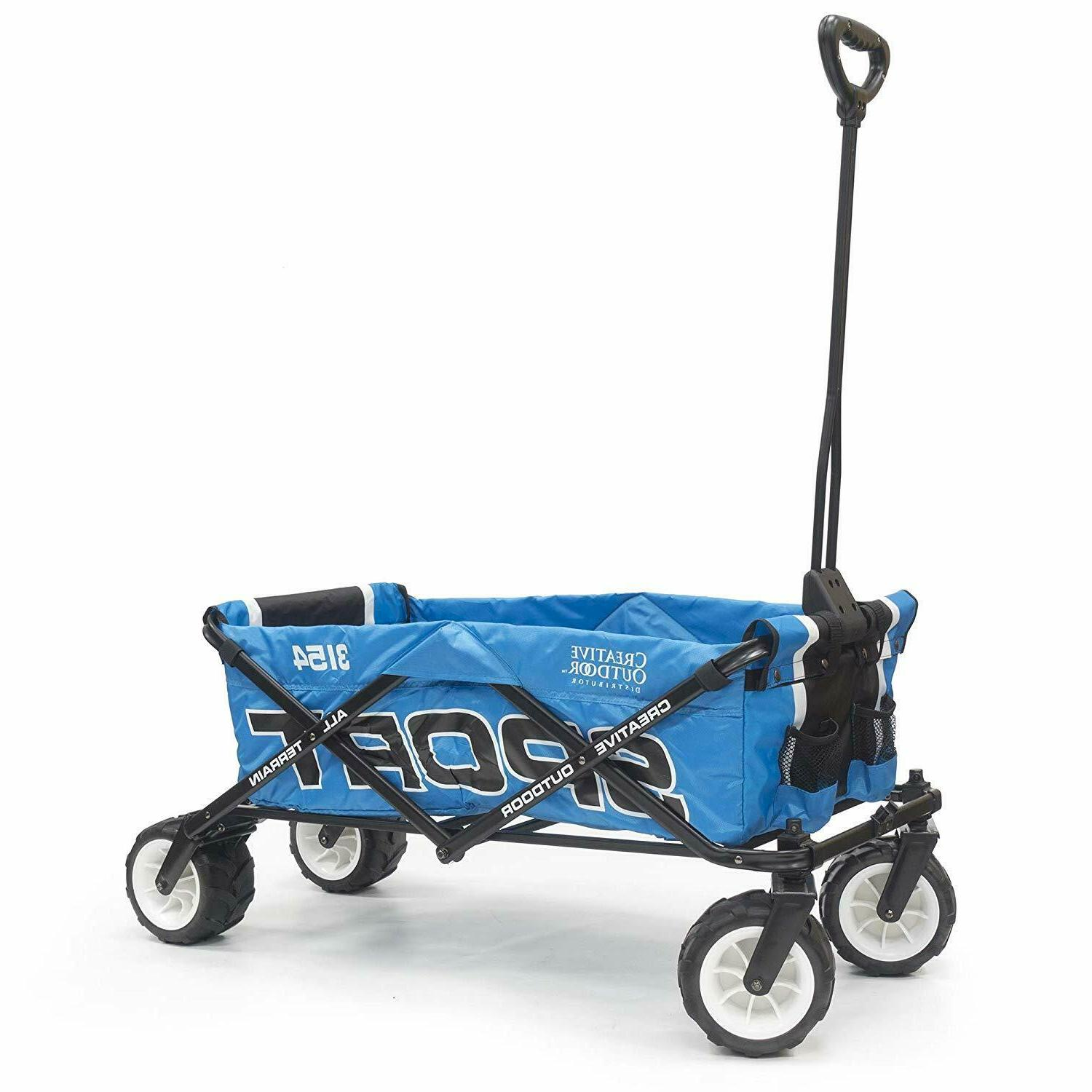 collapsible folding sport wagon blue