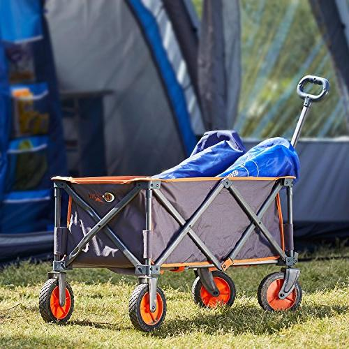 PORTAL Collapsible Utility Wagon Quad Compact Garden Camping Support up to lbs, Grey