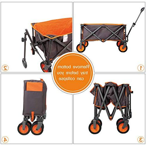 PORTAL Collapsible Folding Utility Wagon Quad Garden up Grey