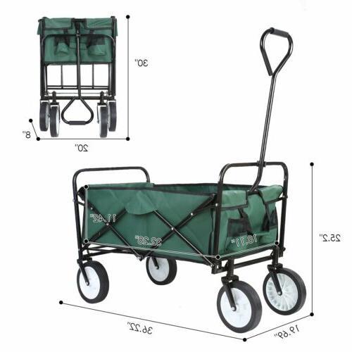 Collapsible Wagon Cart Beach Camping Garden Utility Cart Green