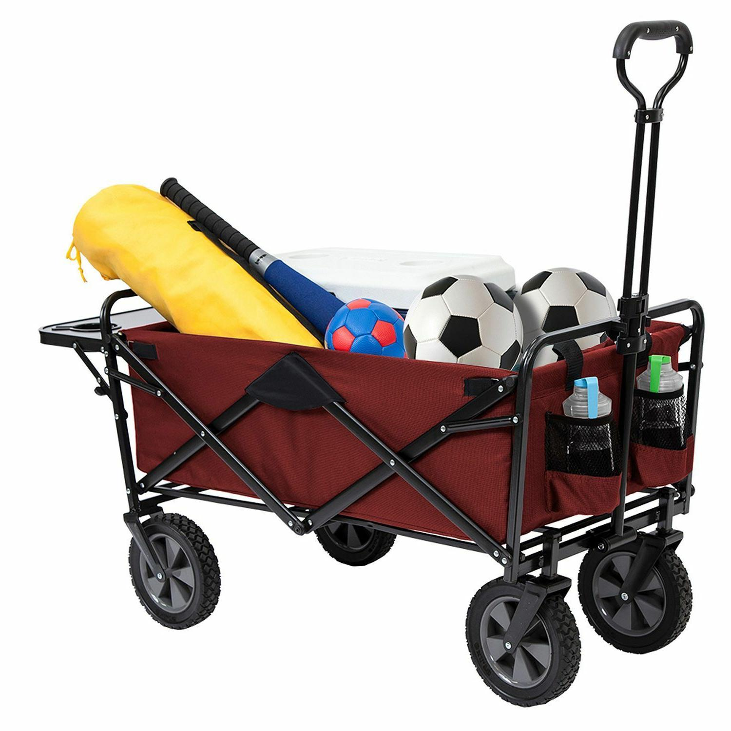 Collapsible Wagon Cart Camping Garden Steel Frame assorted colors