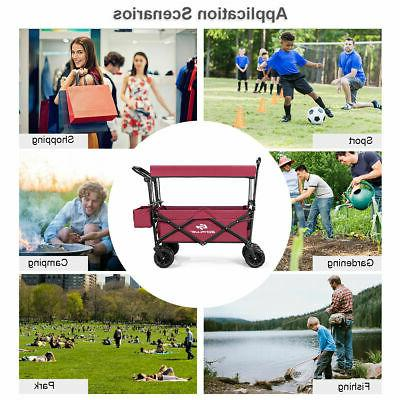 Collapsible Folding Wagon W/ Canopy Garden Trolley Buggy